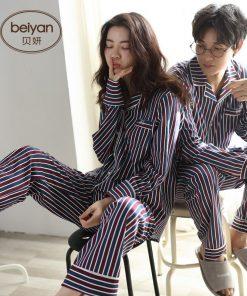 Autumn Striped Season Couple Pajamas 12