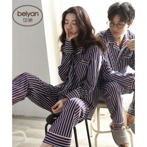 Autumn Striped Season Couple Pajamas 4