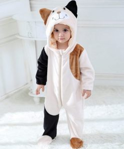 Cat Face Hooded Onesie Pajamas For Toddlers 5