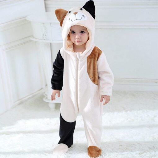 Cat Face Hooded Onesie Pajamas For Toddlers 2