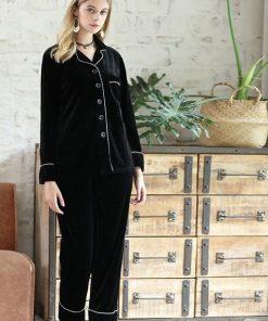Solid Black Color Couple Matching Pajamas Set 6