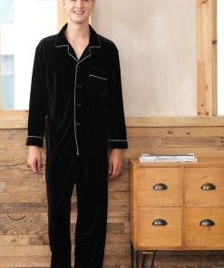 Solid Black Color Couple Matching Pajamas Set 7