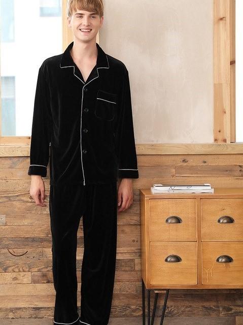 Solid Black Color Couple Matching Pajamas Set 4