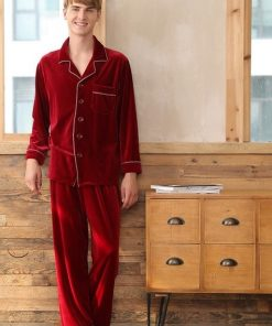 Warm Polyester Couple Matching Pajamas Set 7