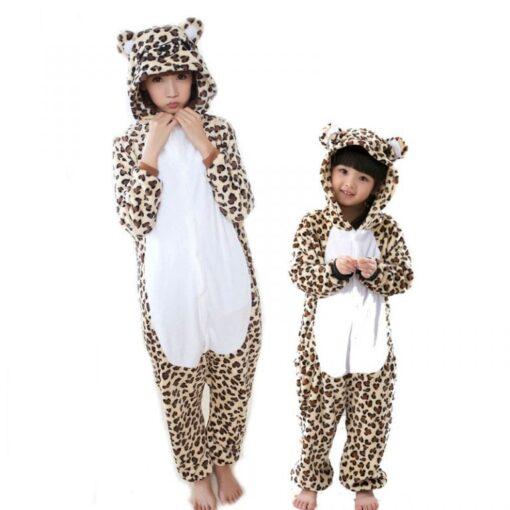 Girls Cute Leopard Bear Pajamas 1