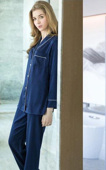 Classy Striped Print Pajamas 2