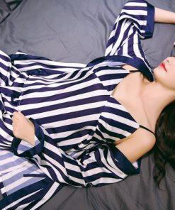 Classy Striped Print Pajamas for Women 5