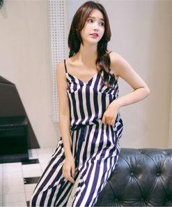 Classy Striped Print Pajamas for Women 6