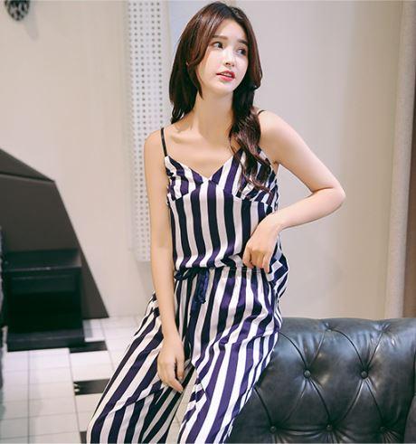 Classy Striped Print Pajamas for Women 3