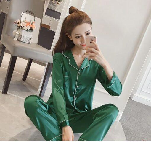 Women Solid Color Silk Pajamas 1
