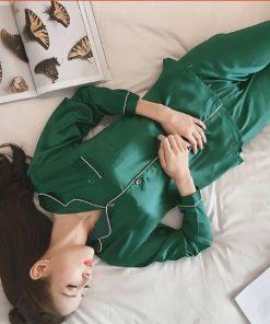 Women Solid Color Silk Pajamas 4