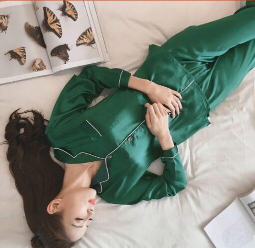 Women Solid Color Silk Pajamas 2