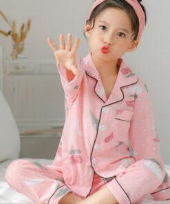 Pink Printed Girl's Nightwear Pajamas 3