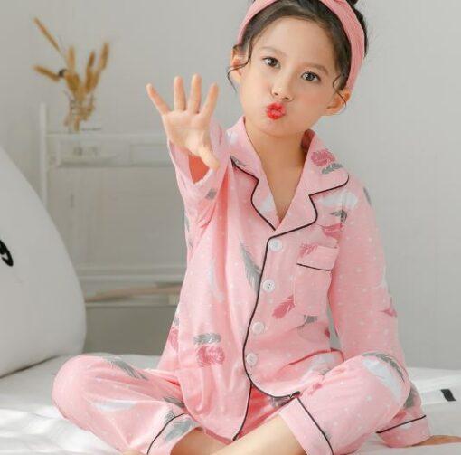 Pink Printed Girl's Nightwear Pajamas 2
