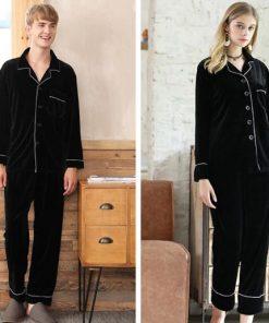 Solid Black Color Couple Matching Pajamas Set 5