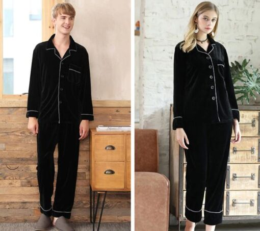 Solid Black Color Couple Matching Pajamas Set 2