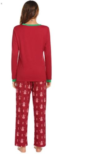 Christmas Snowman Prints Pajamas For Women 3