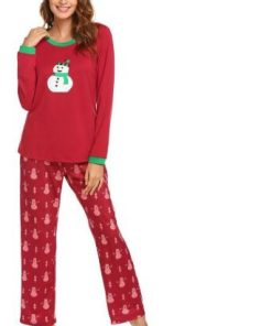 Christmas Snowman Prints Pajamas For Women 4
