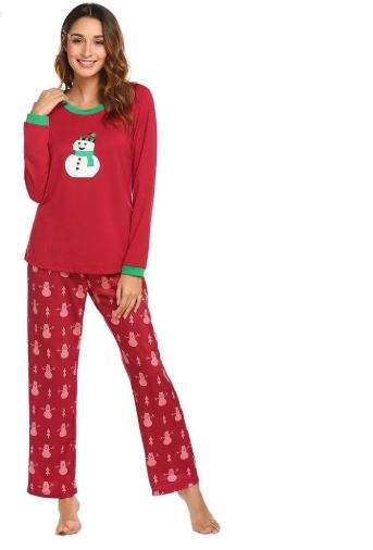 Christmas Snowman Prints Pajamas For Women 2