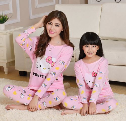 Cute Mother and Daughter Kitty Pajamas 1