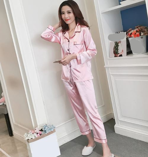 Solid Pink Pajamas for Women 3
