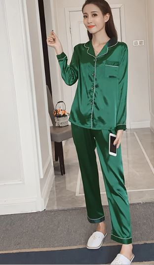 Women Solid Color Silk Pajamas 3