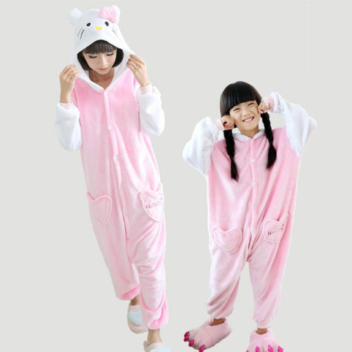 Animal Theme Mother and Daughter Onesie Pajamas 1
