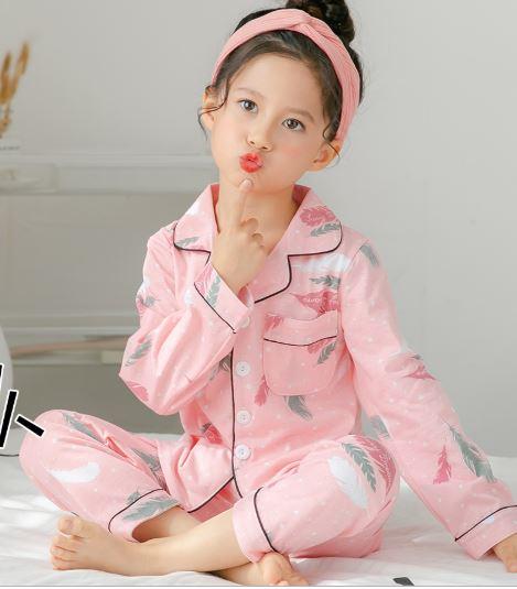 Pink Printed Girl's Nightwear Pajamas 1