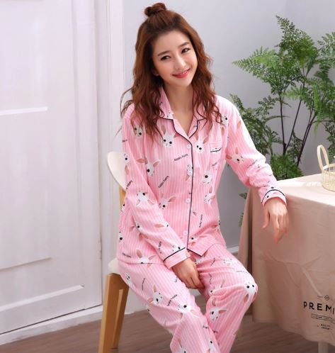 Pleasant Pink Printed Pajamas for Women 2