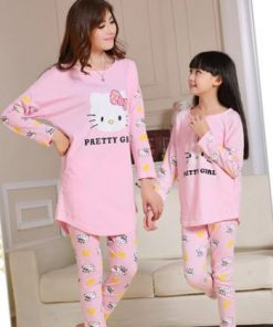 Cute Mother and Daughter Kitty Pajamas 7