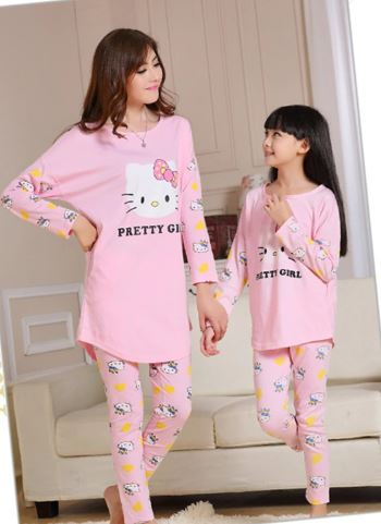Cute Mother and Daughter Kitty Pajamas 3