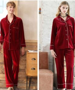 Warm Polyester Couple Matching Pajamas Set 5