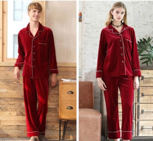 Warm Polyester Couple Matching Pajamas Set 2
