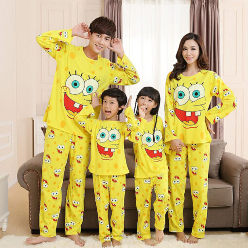 Cotton Matching Sponge-bob Pajamas Set For Family 1