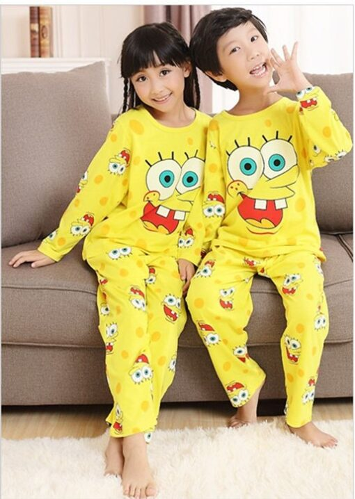 Cotton Matching Sponge-bob Pajamas Set For Family 2