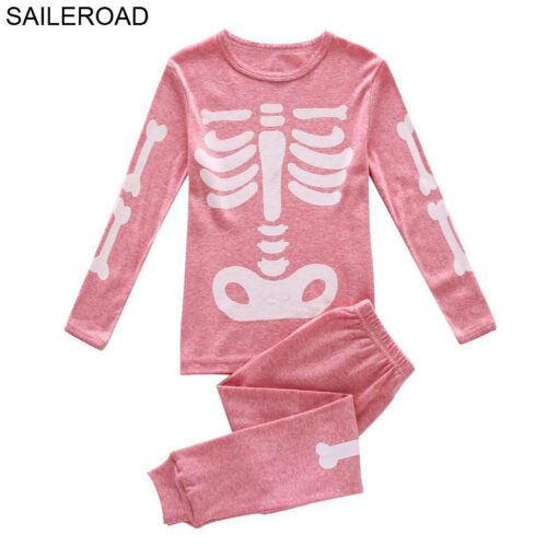 Halloween Horror Bones Print Pajamas For Kids 1