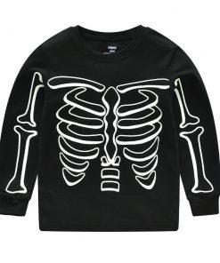 Halloween Horror Bones Print Pajamas For Kids 4