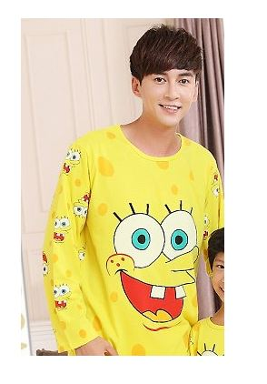 Cotton Matching Sponge-bob Pajamas Set For Family 3
