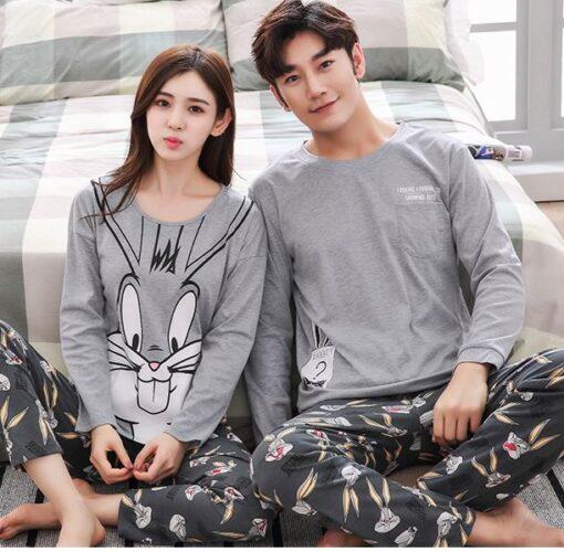 Bunny Themed Long Sleeve Couple Pyjama Set 1