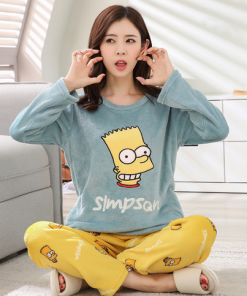 Flannel Pajama Set with The Simpsons Print! 4