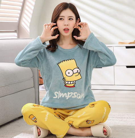 Flannel Pajama Set with The Simpsons Print! 2