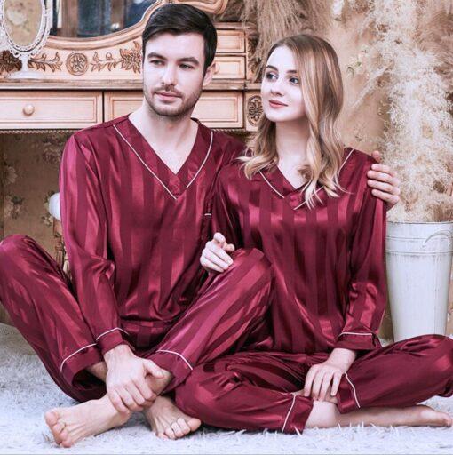 Long sleeve couple sleepwear for Girlfriend and Boyfriend 1
