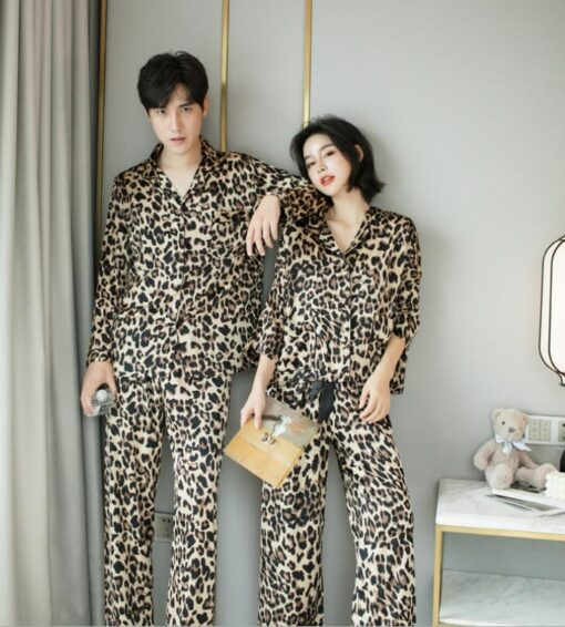 Leopard Print Couple Pajamas Set 1