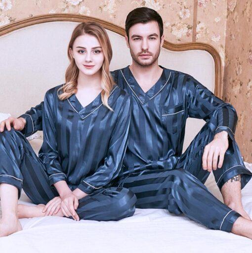 Long sleeve couple sleepwear for Girlfriend and Boyfriend 2