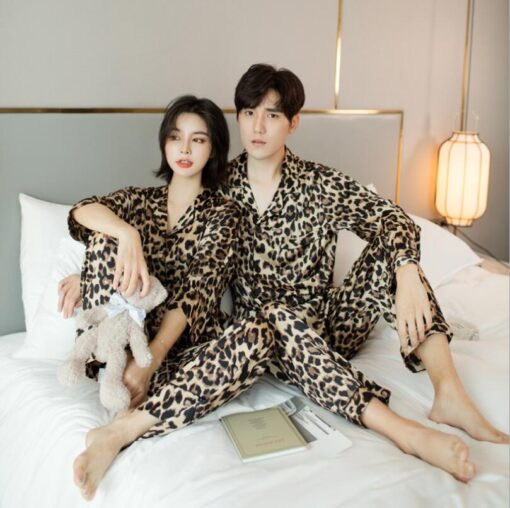 Leopard Print Couple Pajamas Set 3