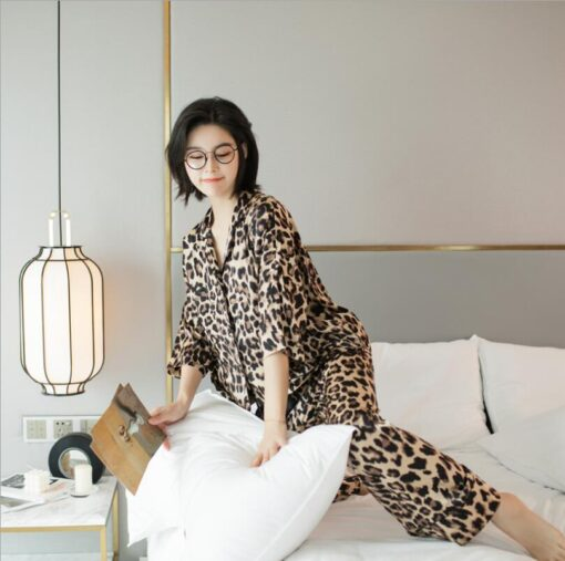 Leopard Print Couple Pajamas Set 6